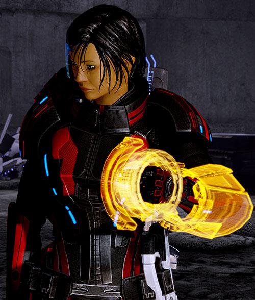 Commander Shepard (Mass Effect 2 late) body armor glowing omni-tool