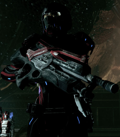 Commander Shepard (Mass Effect 2 late) full hardsuit and a Revenant