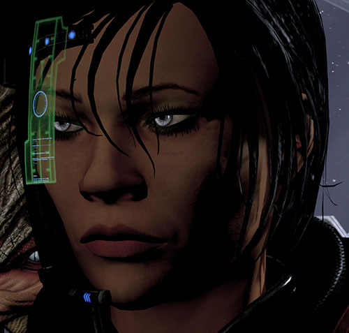 Commander Shepard (Mass Effect 2 late) in shadows face resolute