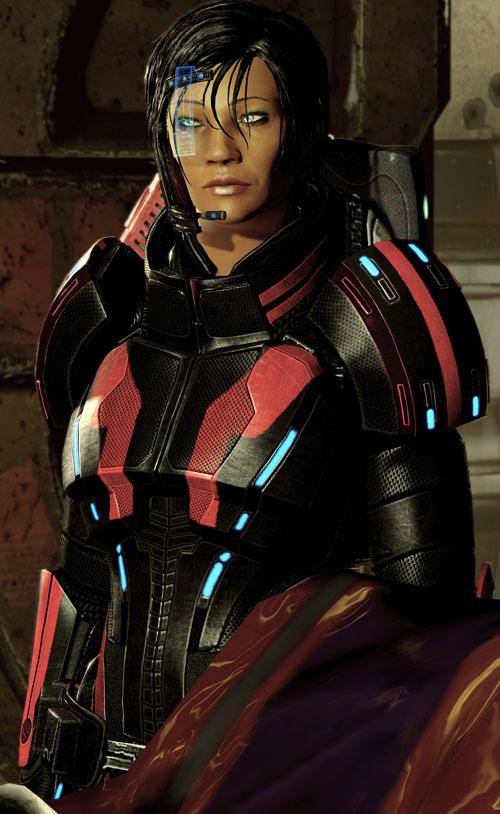 Commander Shepard (Mass Effect 2 late) Kestrel armor and blue HUD plate
