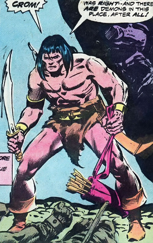 Conan the Barbarian (Marvel Comics version) with a scimitar and a quiver