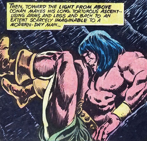 Conan the Barbarian (Marvel Comics version) climbing up a chimney