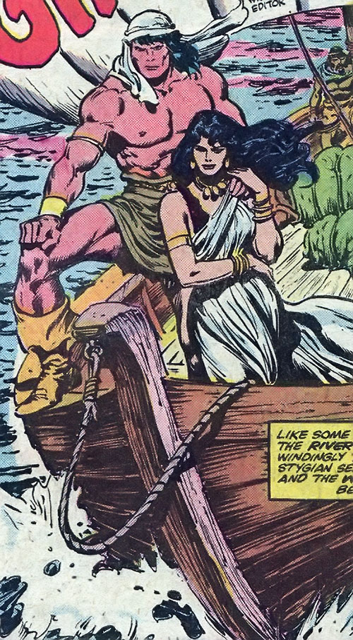 Conan the Barbarian (Marvel Comics version) and Belit on a boat