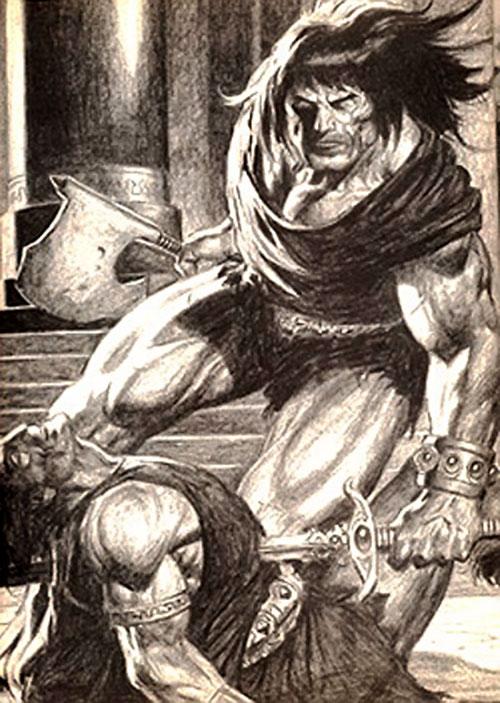 Conan the barbarian in action - B&W art