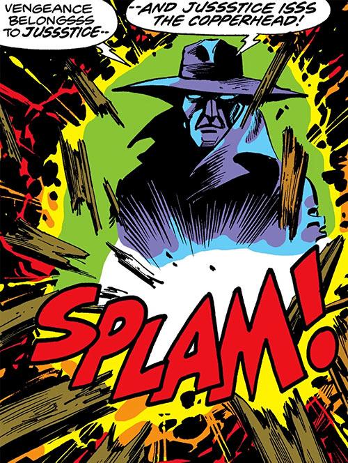 Copperhead (Chesney) (Daredevil enemy) (Marvel Comics) bursts through a door