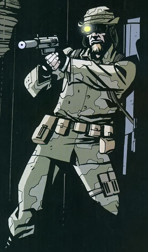 Cougar of the Losers (DC Comics) with a silenced pistol, night sight goggles and uniform