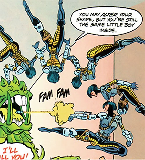 Coven (New Titans enemy) (DC Comics) doing acrobatics and shooting a grenade