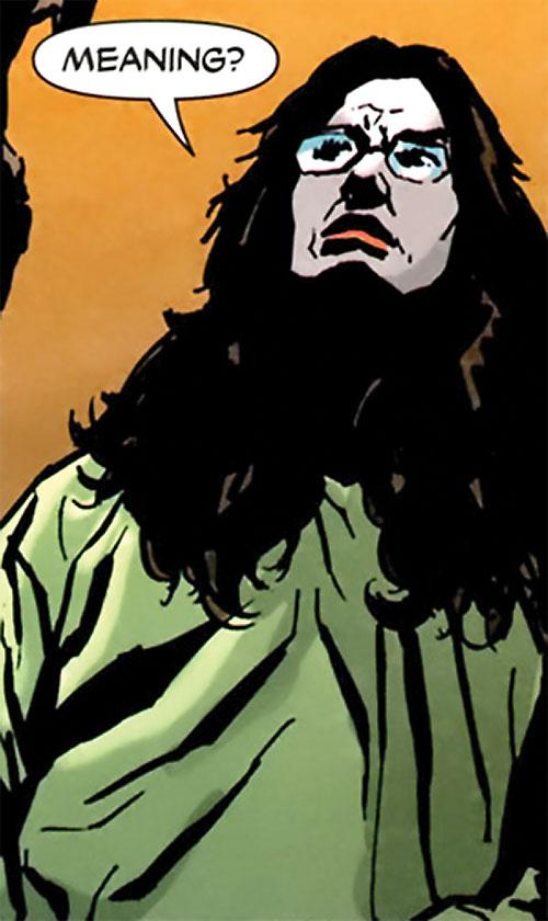 Crime Doctor (Anica Balcescu) (Manhunter enemy) (DC Comics) looking smug