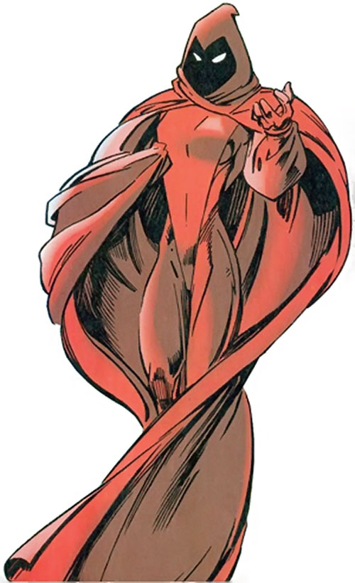 Crimson Cowl (Thunderbolts enemy) (Marvel Comics) (Justine Hammer) wrapped in her cloak