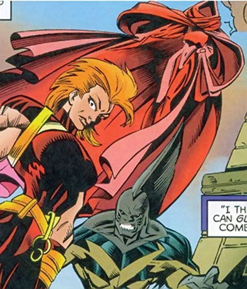 Crimson Cowl (Thunderbolts enemy) (Marvel Comics) (Justine Hammer) with Man-Killer and Tiger Shark