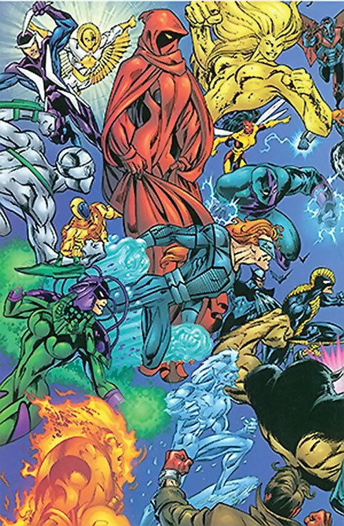 Crimson Cowl (Thunderbolts enemy) (Marvel Comics) (Justine Hammer) and an army of super-villains