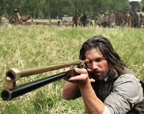 Cullen Bohannon (Anson Mount in Hell on Wheels) aiming a scoped rifle