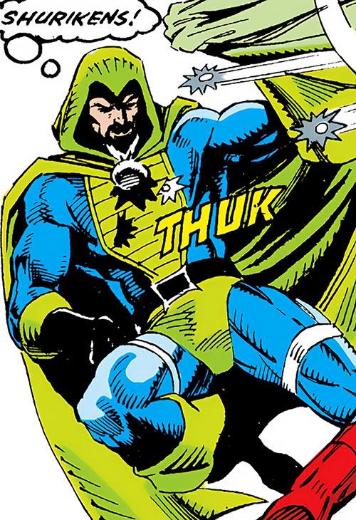 Cutthroat (Marvel Comics) hit by shuriken