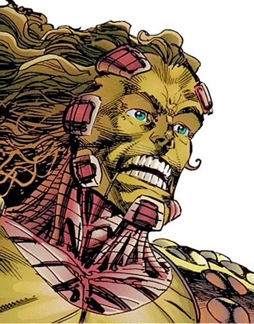 Cyberface (Savage Dragon comics) head implants closeup