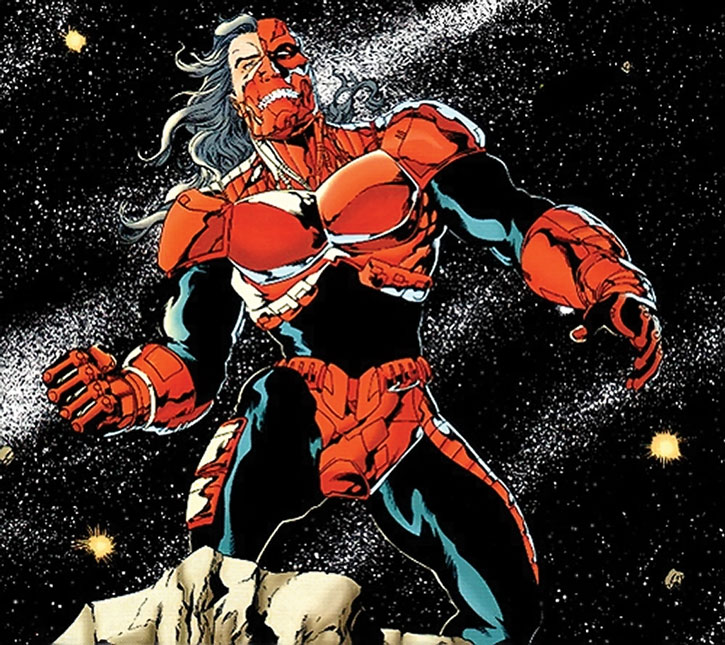 Cyborg Supernan (Hank Henshaw) with the red and black look