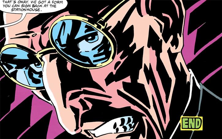 Cypher (DC Comics) (Batman / Robin foe) face closeup