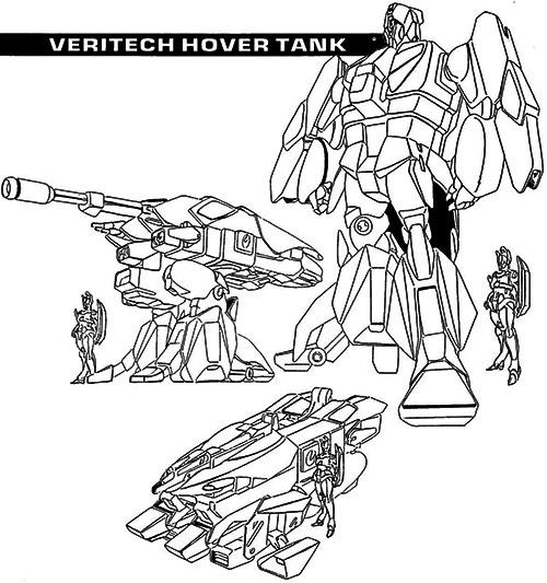 Veritech hover tank model sheet