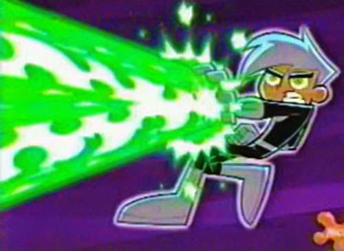 Danny Phantom firing a green energy beam from his hand