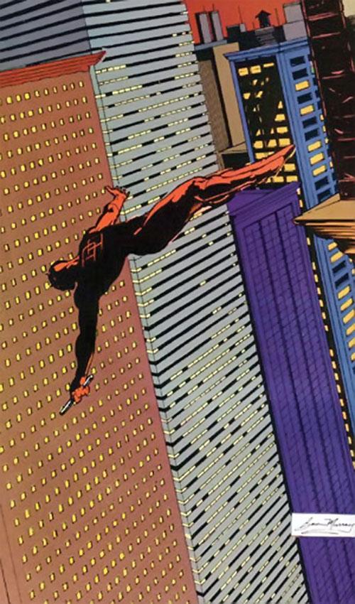 Daredevil (Marvel Comics) diving between skyscrapers