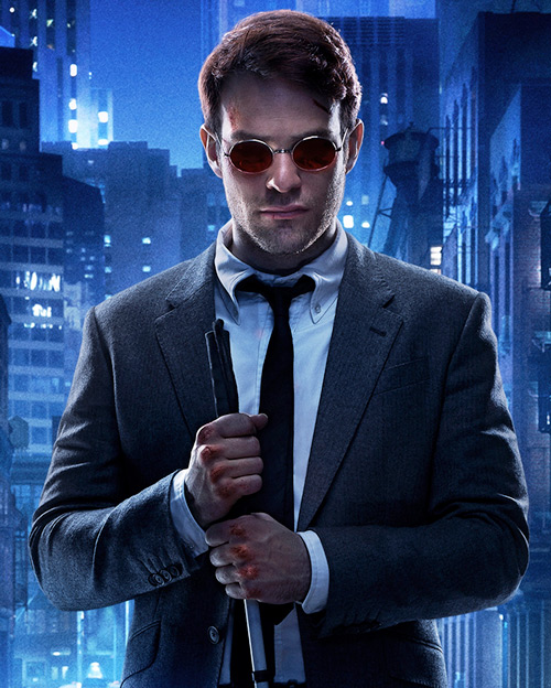 Daredevil (Charlie Cox on Netflix) gray suit skinned knuckles