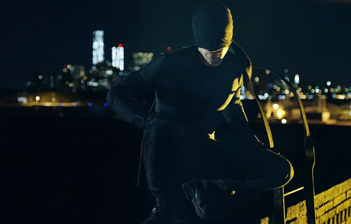 Daredevil (Charlie Cox on Netflix) in black in the night
