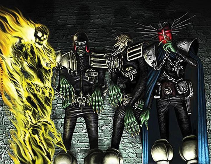 The Dark Judges in black uniforms, in color