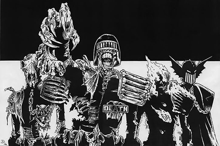 The Dark Judges in black and white