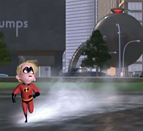 Dash of the Incredibles (Pixar) running over water