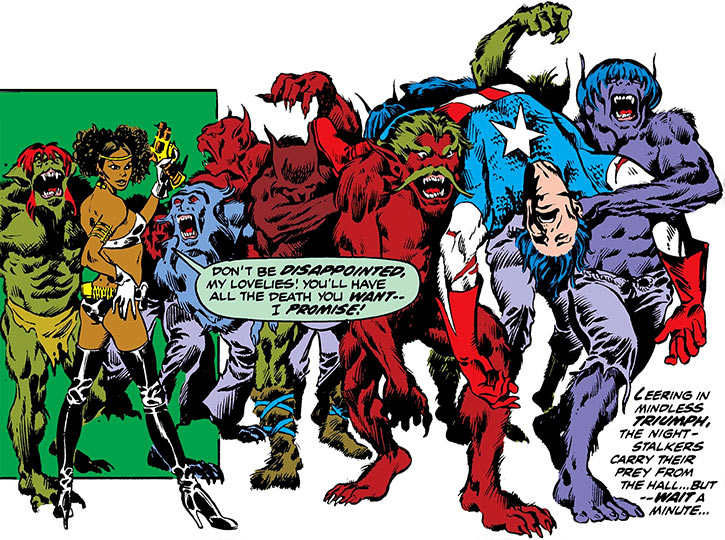 Deadly Nightshade (Tilda Johnson)'s werewolves carry a man in a Captain America costume