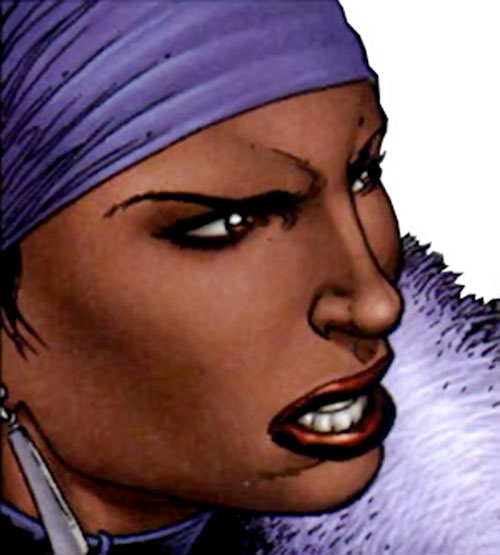 Deadly Nightshade (Captain America character) (Marvel Comics) face closeup with purple headband