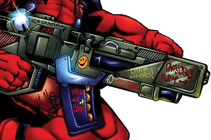 Deadpool's decorated gun