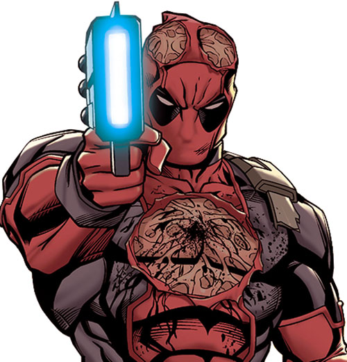 A wounded Deadpool aiming a blaster pistol