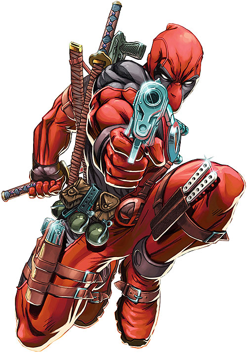 Deadpool carrying an arsenal