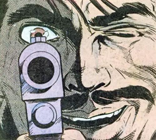 Deadshot face and gun closeup