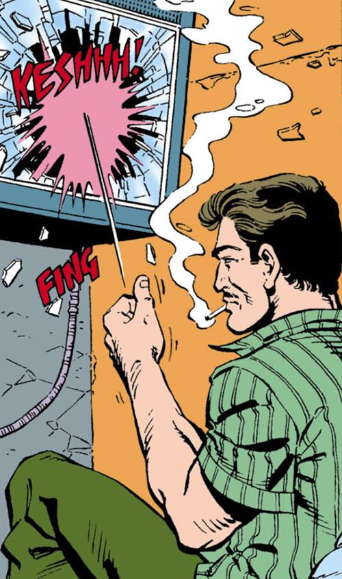 Deadshot flicks a coin into a television