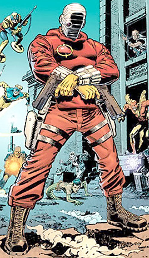 Deadshot surrounded by minor villains