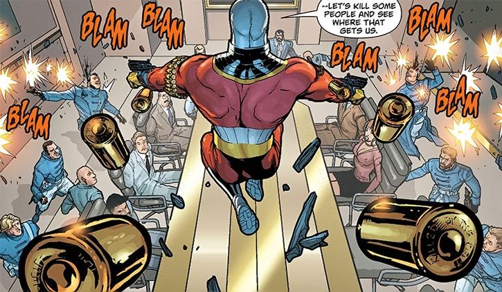 Deadshot attacks a boardroom (but not a gazebo)