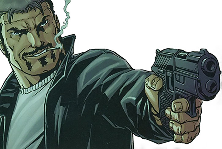 Deadshot in his civvies points a pistol