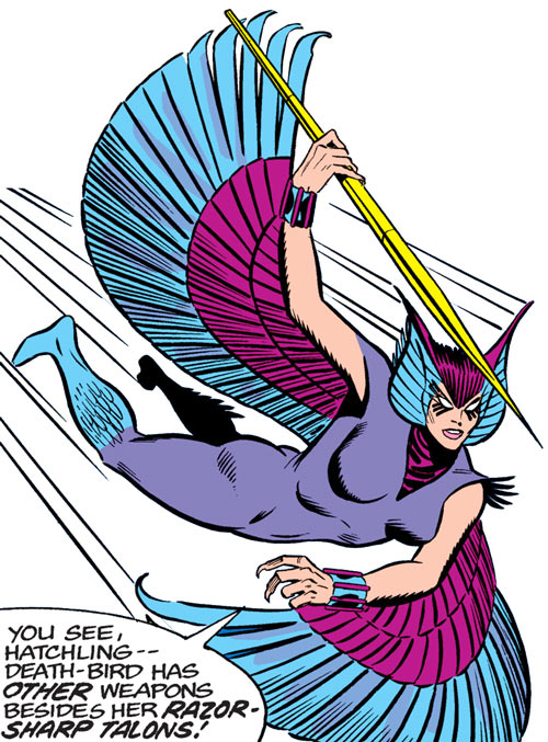 Deathbird of the Shi'ar (X-Men enemy) (classic Marvel Comics) diving in with a javelin