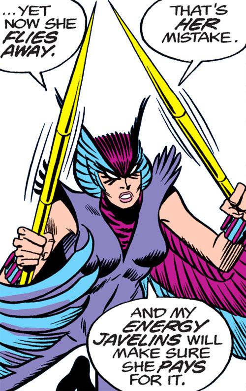 Deathbird of the Shi'ar (X-Men enemy) (classic Marvel Comics) dual-wielding javelins