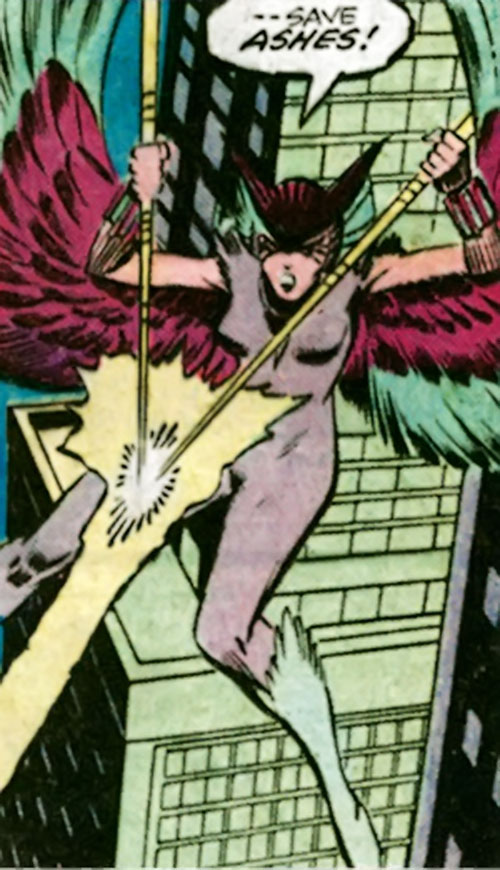 Deathbird of the Shi'ar (X-Men enemy) (classic Marvel Comics) shooting energy from her javelins
