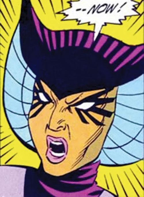 Deathbird of the Shi'ar (X-Men enemy) (classic Marvel Comics) screaming face closeup