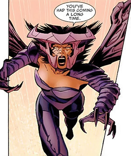 Deathbird of the Shi'ar (X-Men enemy) (recent Marvel Comics) flying into combat
