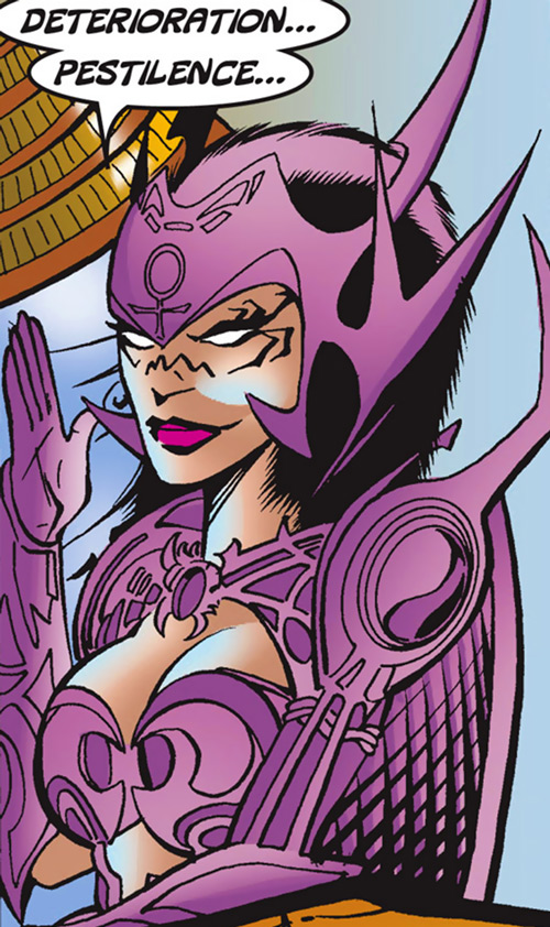 Deathbird of the Shi'ar (X-Men enemy) (recent Marvel Comics) as War, closeup