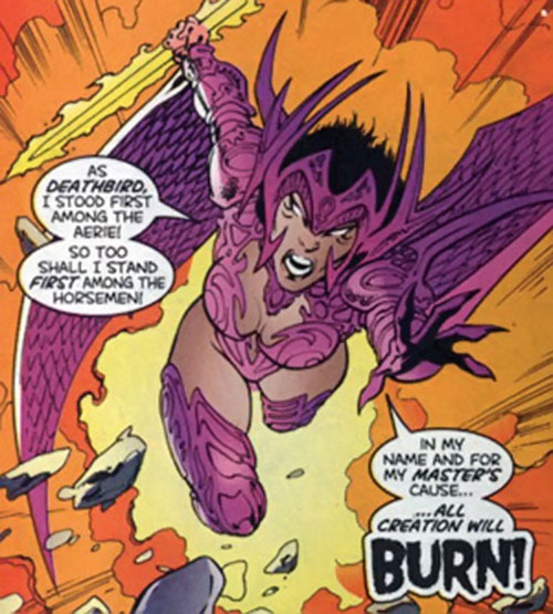 Deathbird of the Shi'ar (X-Men enemy) (recent Marvel Comics) as War, charging
