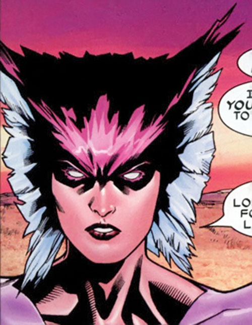 Deathbird of the Shi'ar (X-Men enemy) (recent Marvel Comics) face closeup with white and pink feathers