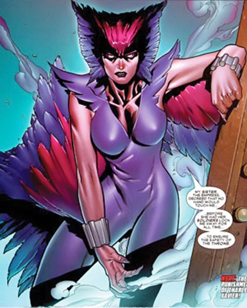 Deathbird of the Shi'ar (X-Men enemy) (recent Marvel Comics) resting against a wall