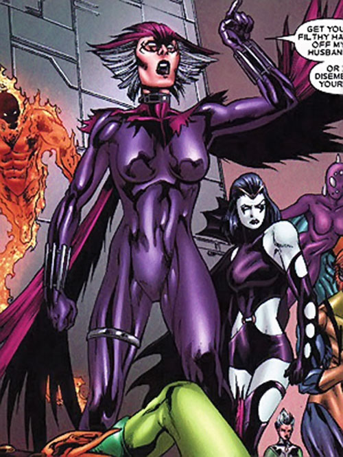 Deathbird of the Shi'ar (X-Men enemy) (recent Marvel Comics) in a violet body glove