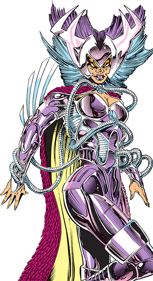 Deathbird of the Shi'ar (X-Men enemy) (recent Marvel Comics) with hot pink and pale yellow cape