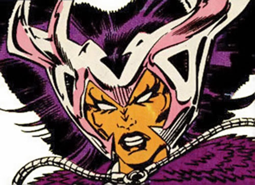 Deathbird of the Shi'ar (X-Men enemy) (recent Marvel Comics) with dark purple head feathers